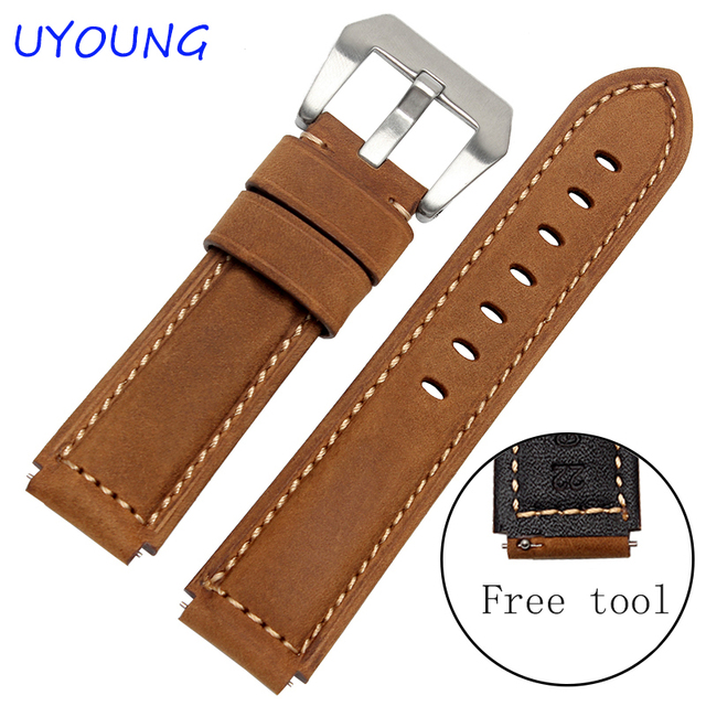 Quality scrub genuine leather watch band for ens army green watch accessories for HUAWEI watch