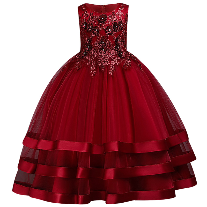 New-Children-elegant-Wedding-Dress-After-Short-Before-Mopping-the-floor-Long-Beading-embroidery-princess-Party