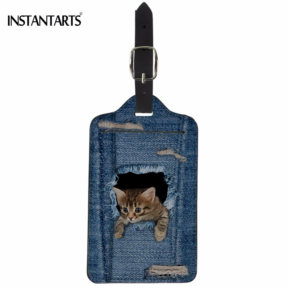 INSTANTARTS Funny Fake Denim Cat/Kitty Print PU Leather Luggage Tags Travel Accessories Baggage Boarding Tag Suitcase ID Holder