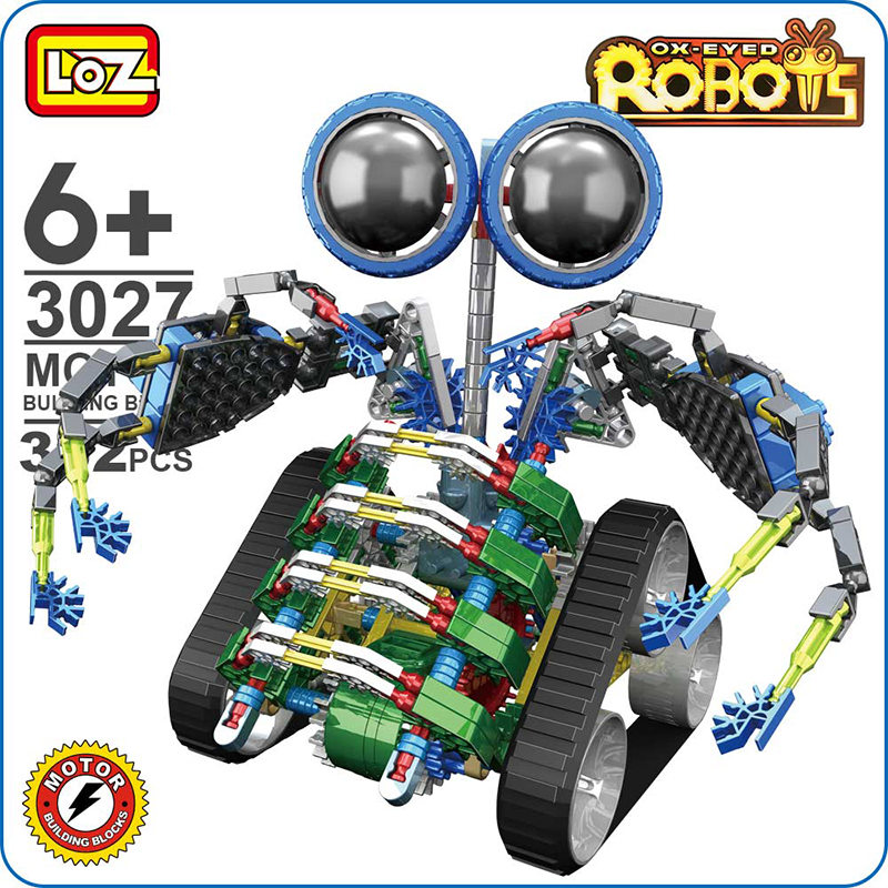 LOZ Electric Robotic Motor Building Blocks Set Turbo Robot Toy Gear Brick Children Kids Educational DIY Toys Gift 3027 loz diamond blocks plastic building blocks kids children gift educational toy cartoon model educational diy building figure 9505