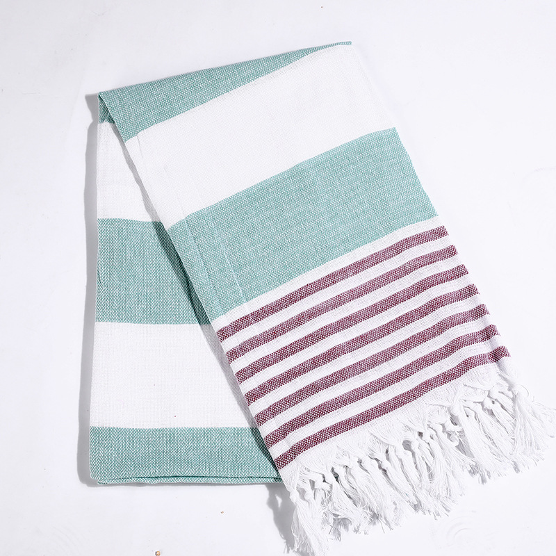 Turkish Bath Towel With Tassel Soft Striped Adult Beach
