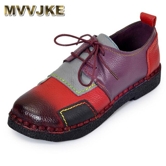 Mvvjke hecho a mano de las mujeres Zapatos Cuero auténtico cordón plana madre Zapatos mujer Mocasines solo suave casual Zapatos mujeres pisos