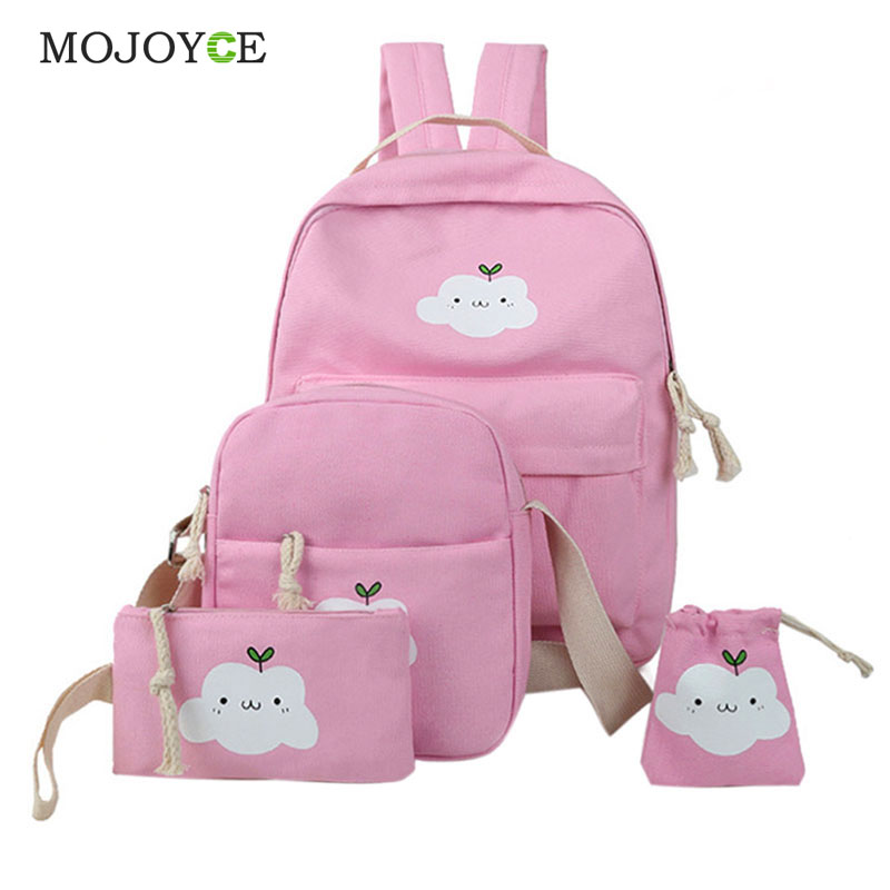 4Pcs Hot Sale Korean Women Bag Canvas Backpack Cute Cloud Print School Bags for Teenagers Backpacks for Teenage Girls Mochila 2016 hot sale fashion canvas cute mustache school book bag vintage women backpack casual women backpack
