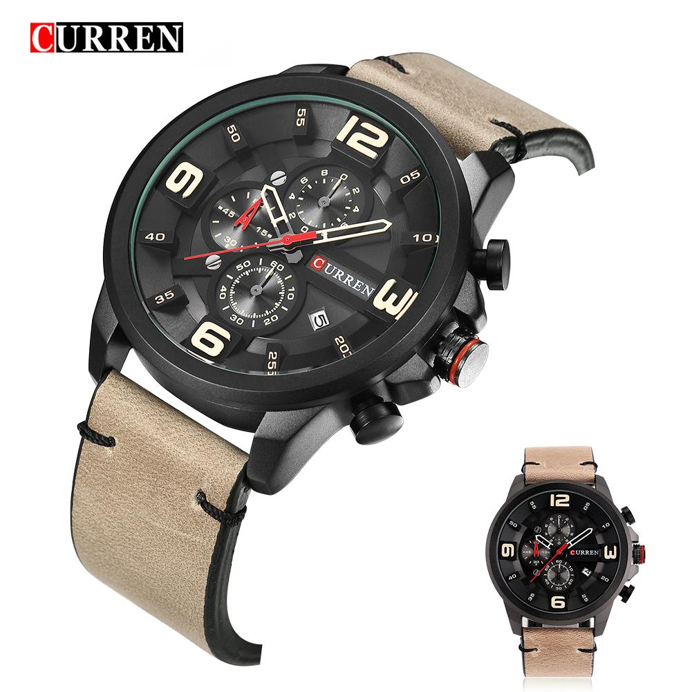 CURREN Chronograph Sport Man Watch Men's Watches 8288 Luxury Brand Leather Quartz Male Wristwatch Men Montre Homme Hodinky Clock megir fashion watch leather band men quartz watches brand waterproof clock luxury sport man wristwatch army style montre homme