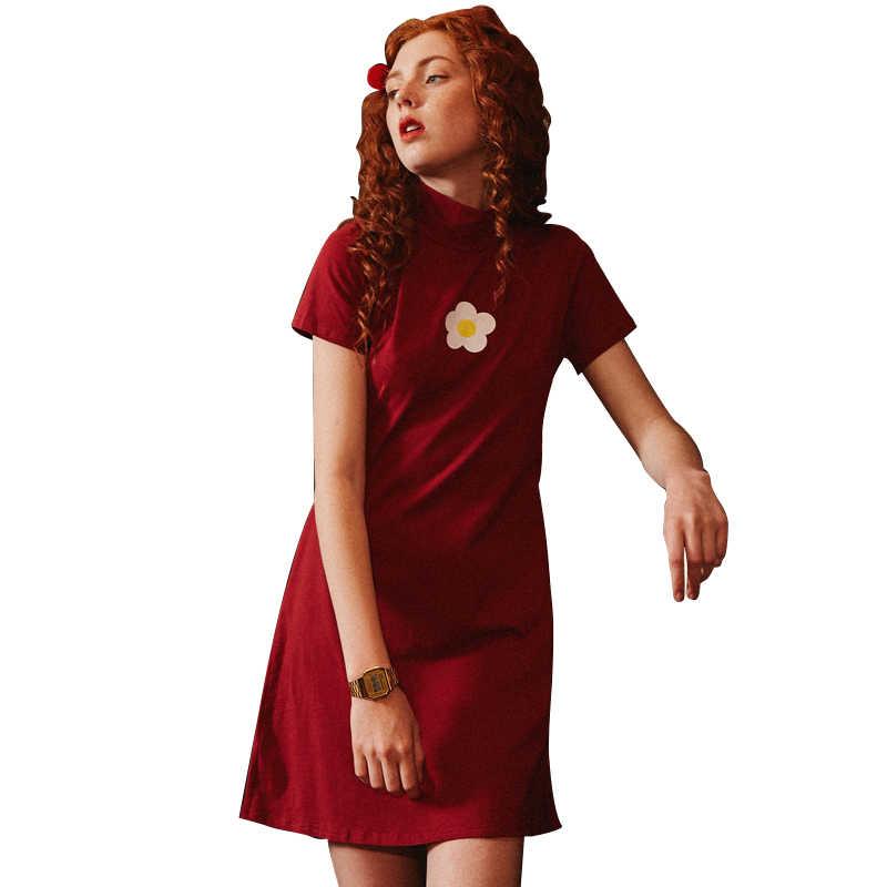 UNIFREE/красное модифицированное платье Чонсам Лето 2019, Модные свободные платья с высоким воротником и принтом, U192I014YY