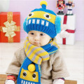New 2016 Baby Winter Hats Cartoon Robot Baby Boy/Girl Woolen Hats Newborn Baby Knitted Beanies+Scarf Twinset (12 M-3Years Old)