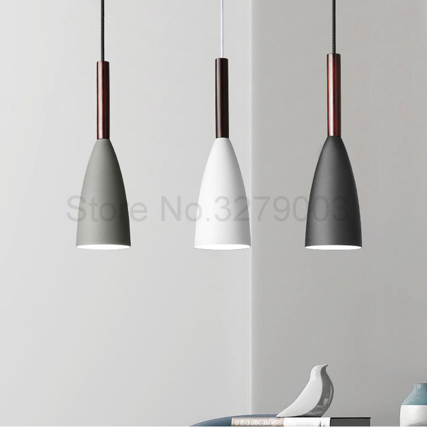 Nordic Style Black/White/Gray Pendant Lamps for Restaurant Living Room Bedroom Bedside,Fashion Bar Cafe Hanging Lights FixturesNordic Style Black/White/Gray Pendant Lamps for Restaurant Living Room Bedroom Bedside,Fashion Bar Cafe Hanging Lights Fixtures
