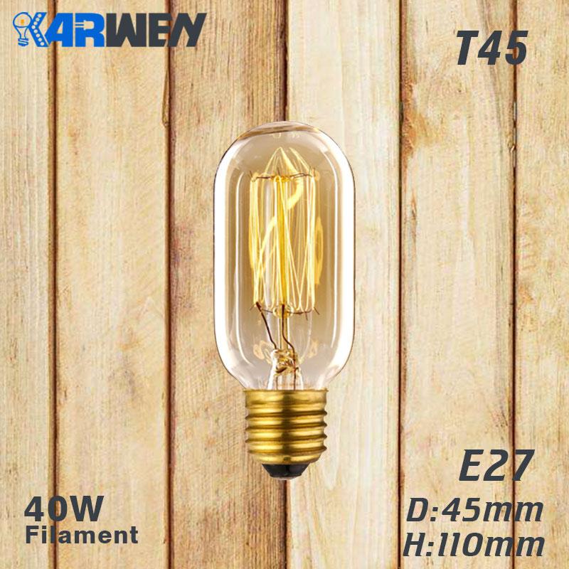 Эдисон лампы E27 40 Вт накаливания подвесной светильник в стиле ретро 220V ST64 A19 T45 T10 G80 G95 ампулы Винтаж лампа Эдисона лампа накаливания светильник лампочка - Цвет: T45 filament