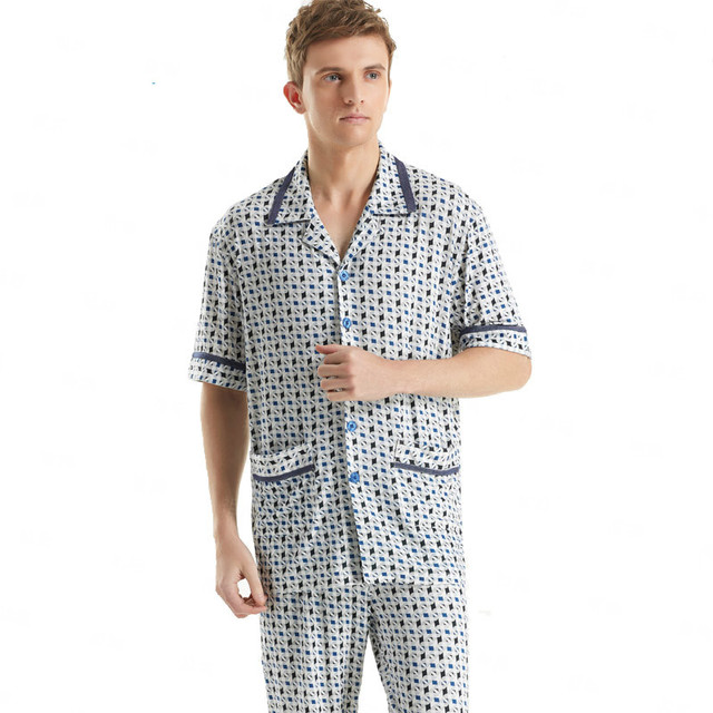 Men Tops Shirt Cotton Plaid Pajama Set Sleepwear Sleep Bottoms Long Pants Pajama Sets Turn-down Collar Tees Tshirts Best Gift