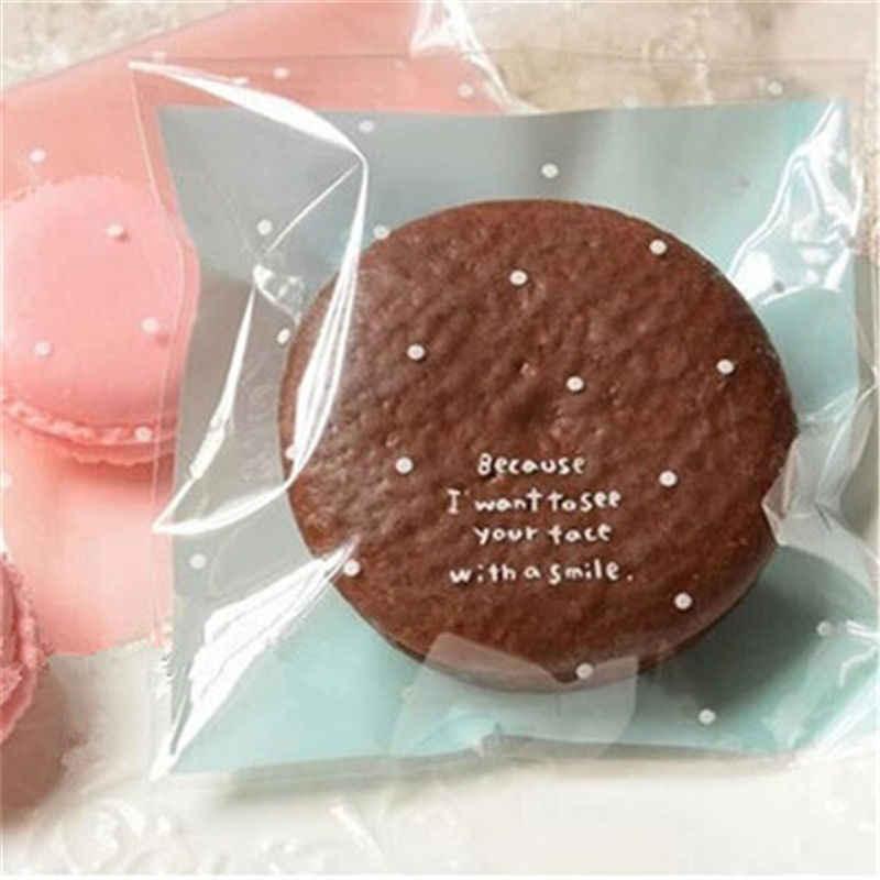 Hot Nhỏ Chấm bi Bánh Quy Túi 100 chiếc Xanh Da Trời Nhựa Màu Hồng Tự Dính Bánh Bao Bì Túi Cưới Kẹo Tặng trang trí Túi