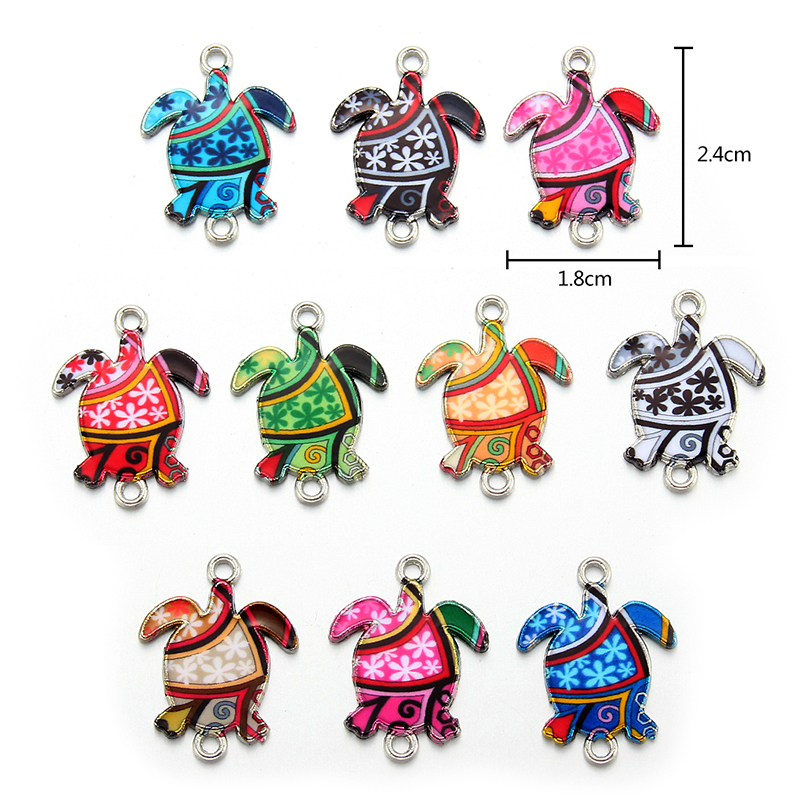10pcs Turtle Enamel Alloy Charms Bracelet Connectors Jewelry Making Handmade Findings Craft Mix Colors 24*18mm
