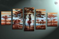 hand painted wall art African tribe house beauty home decoration abstract Landscape oil painting on canvas 5pcs/set mixorde