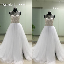 Real Picture Scoop Crystal Beaded Top A-Line Tulle White Wedding Dresses Long Bridal Gown Vestido de Novia 2016 FW22