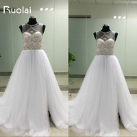 Real Picture Scoop Crystal Beaded Top A Line Tulle White Wedding Dresses Long Bridal Gown Vestido