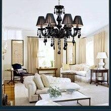 Современный хрустальный светильник-люстра, потолочный светильник, люстра с черным светодиодным кристаллом для гостиной, спальни, кухни
