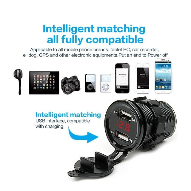 Dual USB Motorcycle Car Electronic Car Charger Adapter Cigarette Lighter Socket Charger + LED Digital Voltmeter Meter Monitor