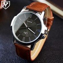 YAZOLE Montre Hommes Top Marque De Luxe Célèbre Quartz Montre-Bracelet des Hommes Horloge En Cuir Montre-Bracelet D'affaires Relogio Masculino