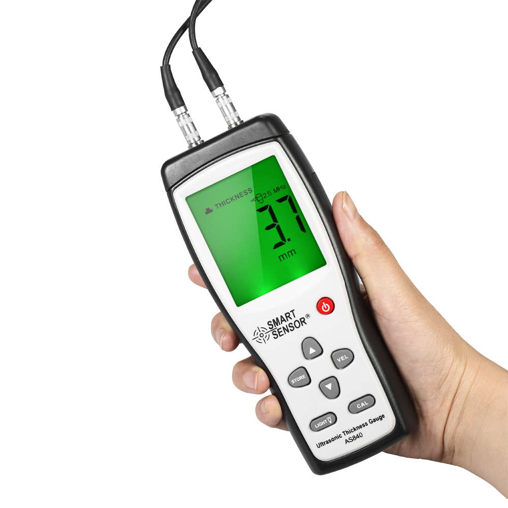 Smart Sensor AS840 Digital Ultrasonic Thickness Gauge Sound Velocity Meter Metal Depth tester 1.2-225mm with LCD display digital ultrasonic thickness gauge sound velocity meter metal depth tester 1 2 225mm smart sensor as840 with lcd display