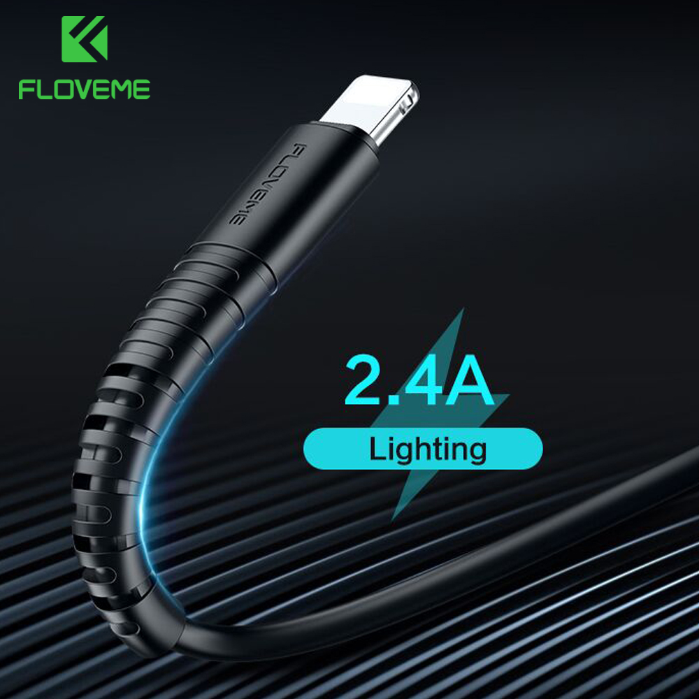 FLOVEME For Lighting Cable USB Charger Cord Hi-Tensile USB Cable Charging For Apple iPhone Xs Max XR X 7 6 s 6s Plus Short Wire