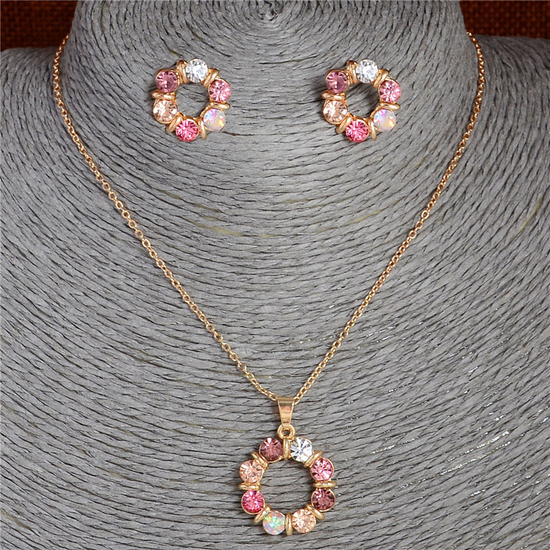 Hesiod 2 pcs/Set Gold Color Sweet Pink Round Circle Shape Pink Color Austrian Crystal Necklace Earring Jewelry Sets For Women