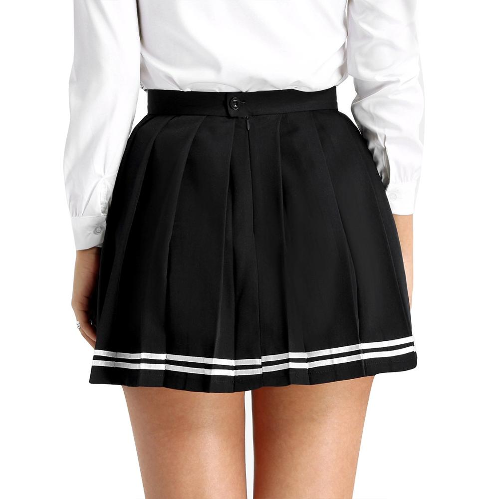 Womens Girls Japanese School Uniforms High Waist Mini Sport School Skirts Latin Dress Cosplay Costume Student Class Clothing image