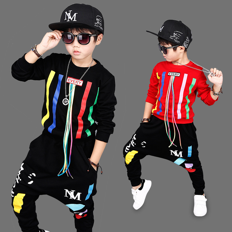 2017Autumn Boys Hip Hop Clothing Set Kids Color Bars Printing Dancing Clothes Children Sport Suit Tops + Harem Pant 2 Pcs 3-14Y4 2017 new fashion kids clothes off shoulder camo crop tops hole jean denim pant 2pcs outfit summer suit children clothing set