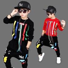 2017Autumn Boys Hip Hop Clothing Set Kids Color Bars Printing Dancing Clothes Children Sport Suit Tops + Harem Pant 2 Pcs 3-14Y4
