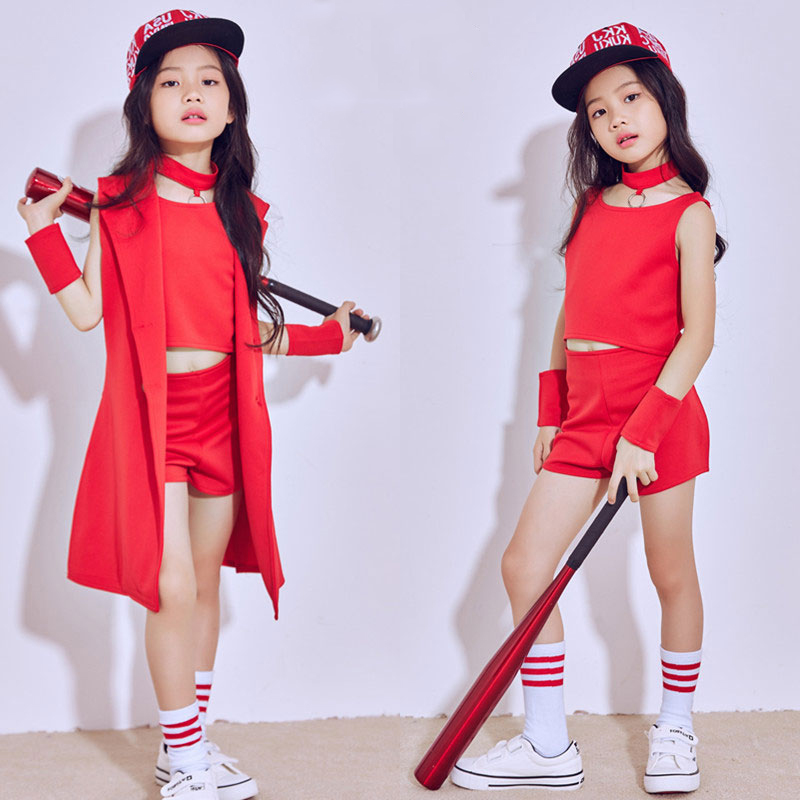 Hip Hop Dance Costume Girls Children'S Day Performance Wear Red Vest Shorts Jacket Jazz Costumes Street Dance Clothing DN1803
