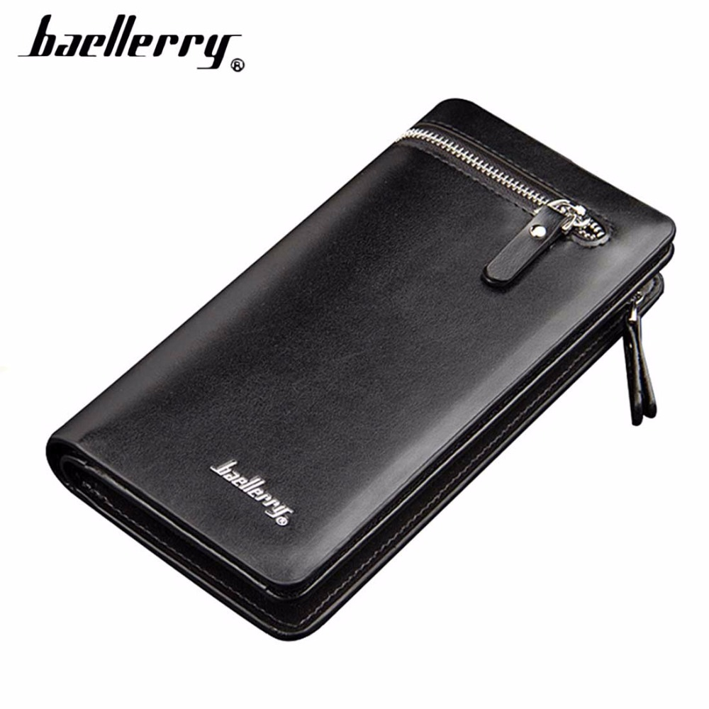 Baellerry Men Wallets Long Business Zipper PU Leather Large Capacity font b Phone b font Pocket