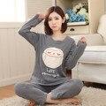 Pijamas de inverno pijamas pijamas das mulheres de algodão de lazer do sexo feminino femme pijamas dos desenhos animados pijamas de manga longa definir a cor cinza