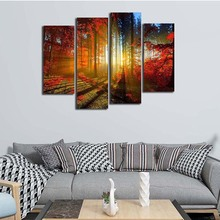 Framed Wall Art Pictures Mud Road Forest Lines Canvas Print Landscape Modern Posters With Wooden Frames For Living Room