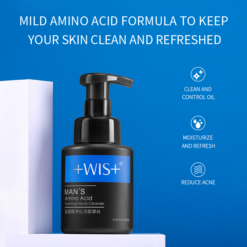 WIS man's amino acid oaming facial cleanser purifying and cleansing mousse salubrious oil control bubble moderate moisture - 5