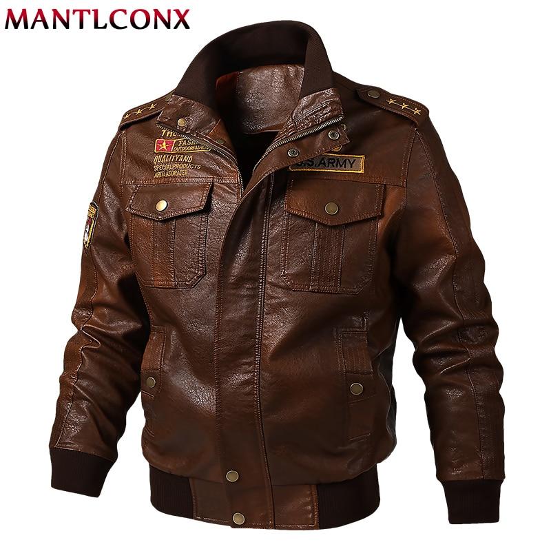 MANTLCONX grande taille M-6XL automne veste en cuir hommes vestes en cuir synthétique polyuréthane hommes veste décontractée coupe-vent moto Fitness manteau