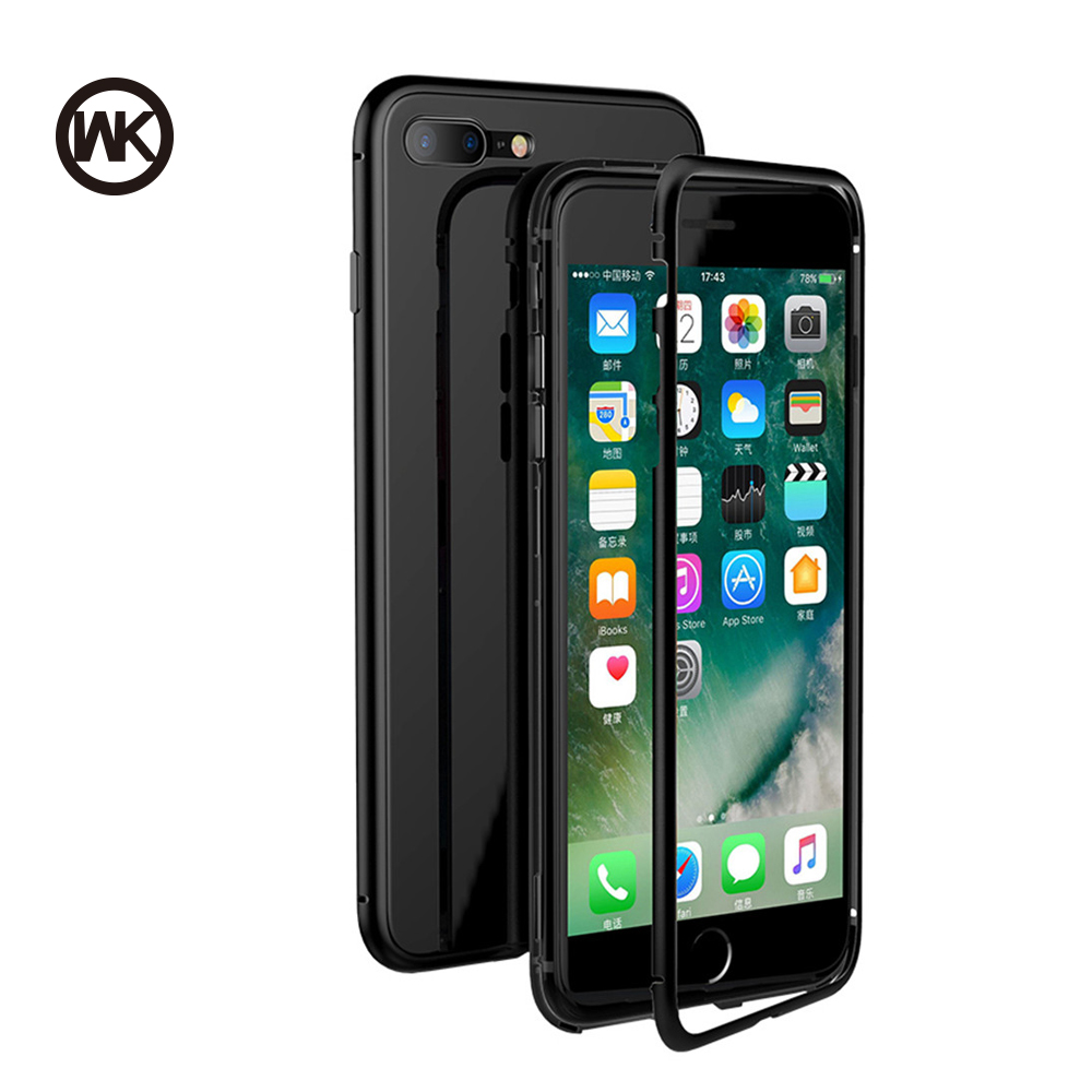 WK Magnetic Adsorption Phone Case For iPhone X Bumper Luxury Aluminum Frame With Tempered Glass Cover For iPhone 7 8 Plus Coque