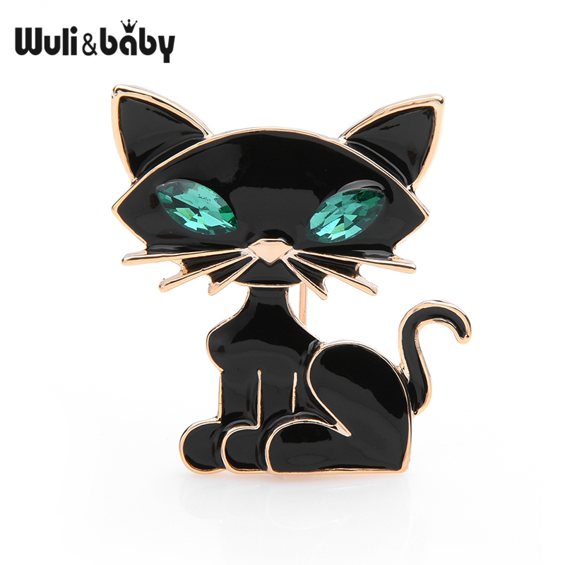Wuli&baby Black Green Eye Cat Brooches Women Men Cute Cat Animal Banquet Party Brooch Pins