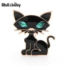 Wuli&baby Black Green Eye Cat Brooches Women Men Cute Cat Animal Banquet Party Brooch Pins недорго, оригинальная цена