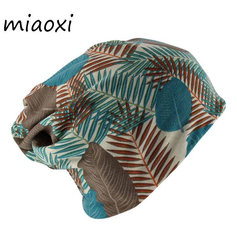 Miaoxi New Casual Adult Women Beanies Scarf Comfortable Leaf Fashion Girls Skullies Bonnet Cotton Hat Caps For Women's Warm Cap