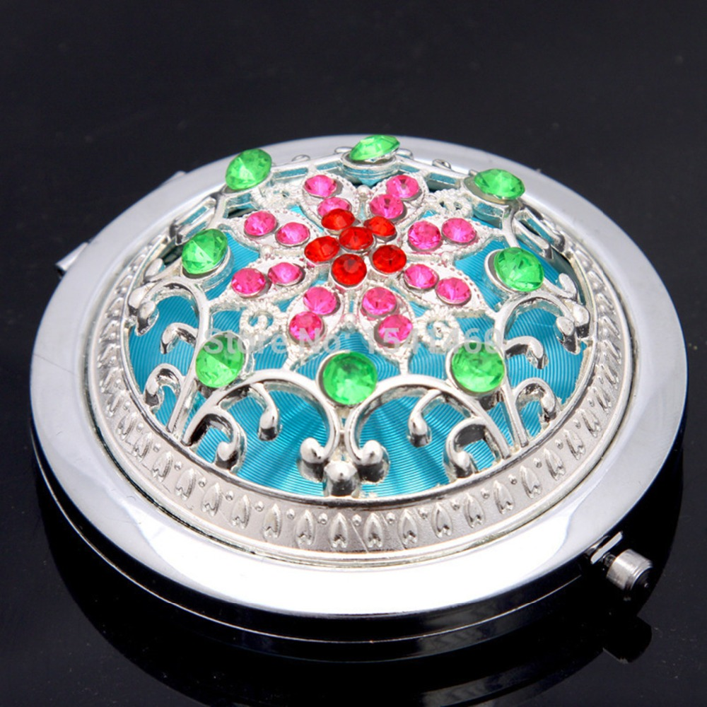 Rhinestone Round Portable Makeup Mirror Folding Vanity Mirror For Wedding Gift Retro Makeup Compact Mirror 3D Stereo Double Side