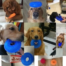 S/XL Squeak Chew Pet Toys For Golden Retriever Large Dogs Training Funny Chew Thorn Circle Ring Small Dog Toys Sound Interactive