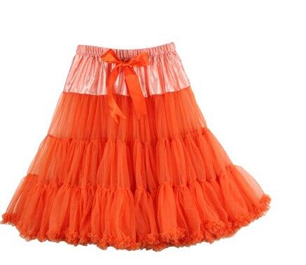 Евро ЗО, проверка, Нижняя юбка для женщин, шифоновая юбка-американка, юбка-пачка для взрослых, бальное платье, для танцев, летняя, 65 см, длинная юбка, сексуальная, однослойная - Цвет: orange