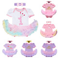 2PCS Baby 1st Birthday Party Clothes Set Infants Girls Short Sleeve Cake Romper Jumpsuit Headband Nappy Cover Pants Outfit Sets