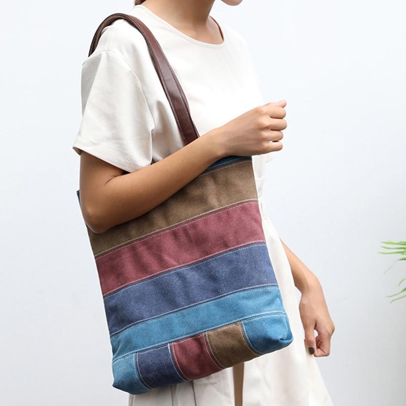 Canvas Bag Women Handbag Patchwork Casual Women Shoulder Bags High Capacity Foldable Reusable Shopping Beach Bag