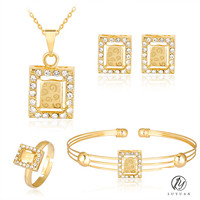 Cute Kids Girl Alloy Jewelry Sets Fashion Square Hollow Out Pendant Necklace 4Pc Sets Gold Color Crystal Lovely Children Set 20%
