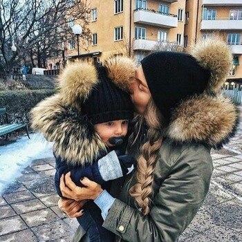 2 STUKS Set Familie Bijpassende Hoed Herfst Baby Meisjes Jongens Winter Warm Gorros Para Bebe faux Fur Pompom Bal Kids gebreide Mutsen Hoed