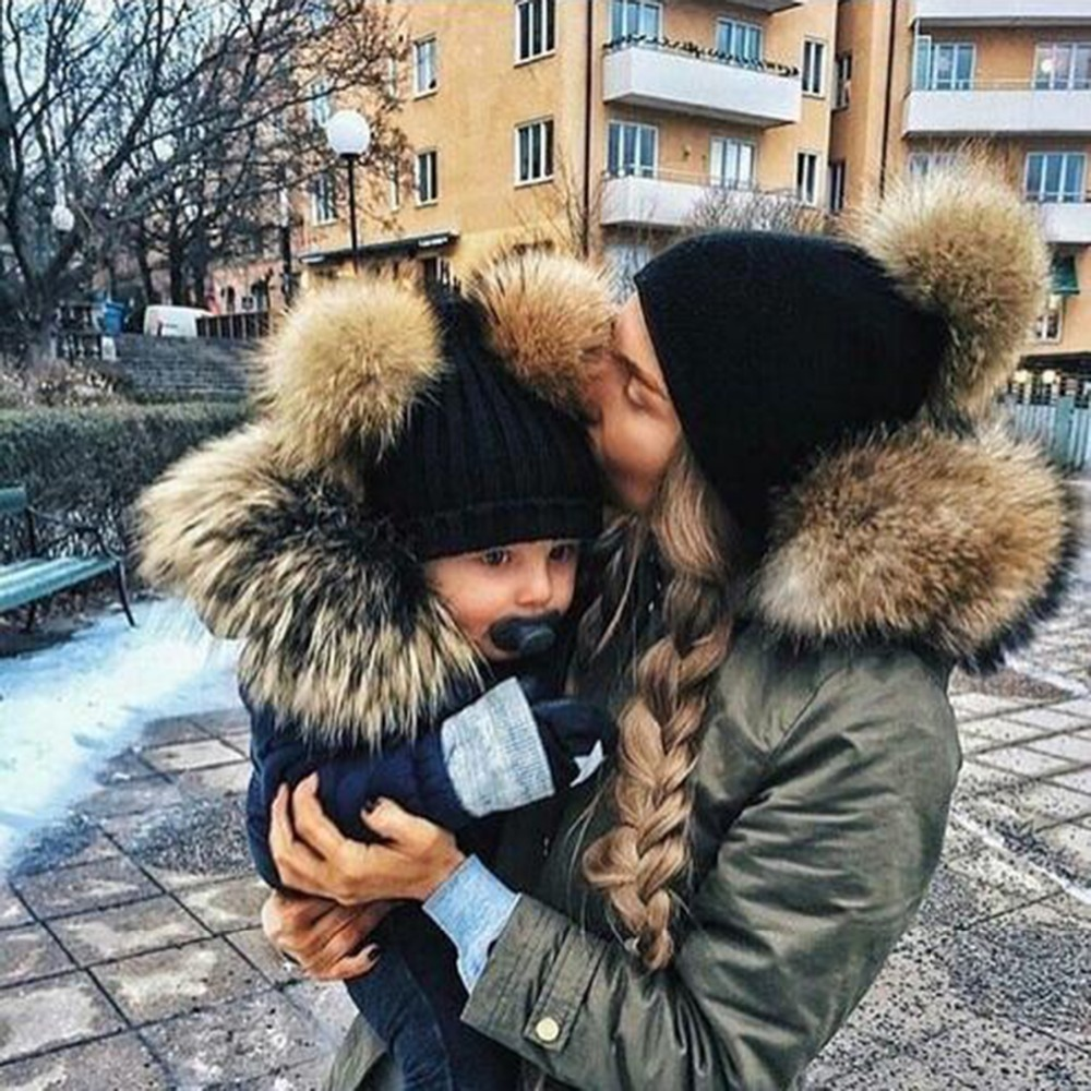 2 stücke Set Familie Passenden Hut Herbst Baby Mädchen Jungen Winter Warm Gorros Para Bebe faux Pelz Bommel Ball Kinder gestrickte Mützen Hut