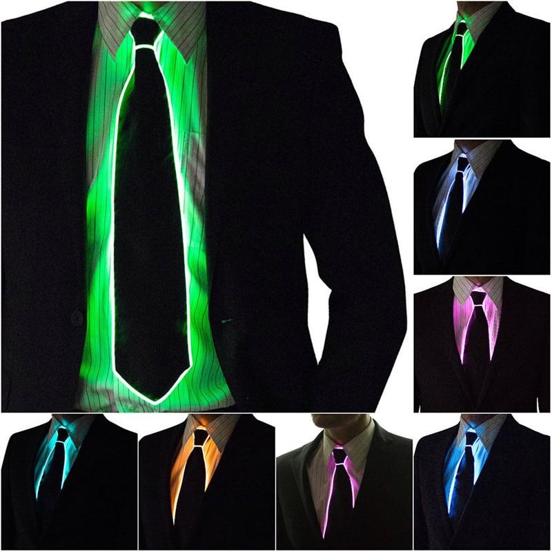 Impresionante EL alambre intermitente LED Cosplay Tie traje anónimo corbata brillante DJ BAR fiesta de Carnaval máscaras Props fresco