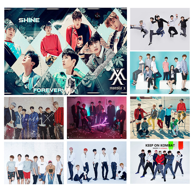 6bd8a04d7c KPOP MONSTA X White Coated Posters Good Quality Prints Wall Posters Room  Decorative Wall Stickers