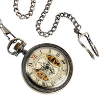 Classic Wind Up Pocket Watch Skeleton Mechanical Antique Style Chain Hand Winding Vintage Tree Pattern Bronze