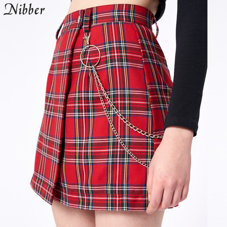 Nibber Spring Vintage Red Plaid Mini Skirts Women 2019 Summer Fashion Office Lady Club Party Casual Short Pleated Skirts Mujer