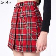 Nibber wiosna Vintage w czerwoną kratę krótka spódniczka kobiet 2019 moda lato biuro lady klub party casual krótki plisowany spódnice mujer